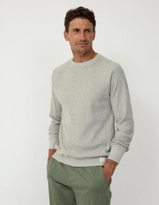 Rib Knit Sweatshirt, Men, Grey