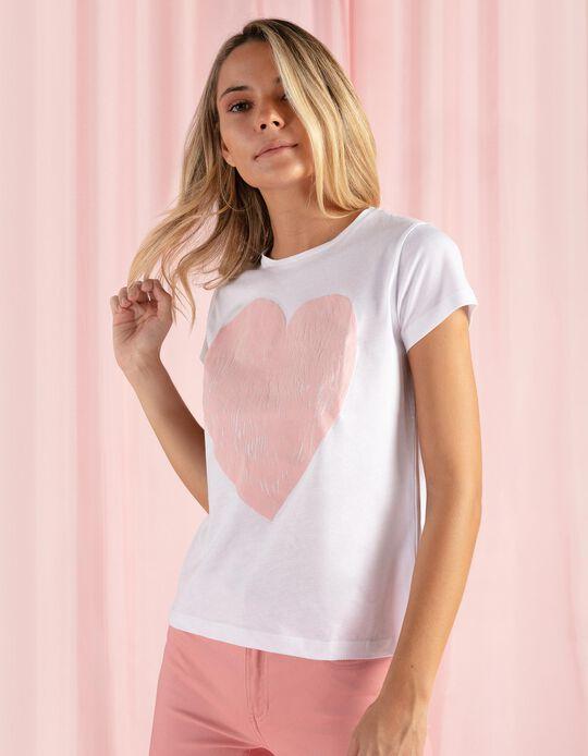 T-shirt estampado coração