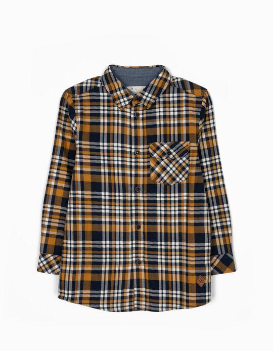 Camisa Xadrez com Bolso Amarela