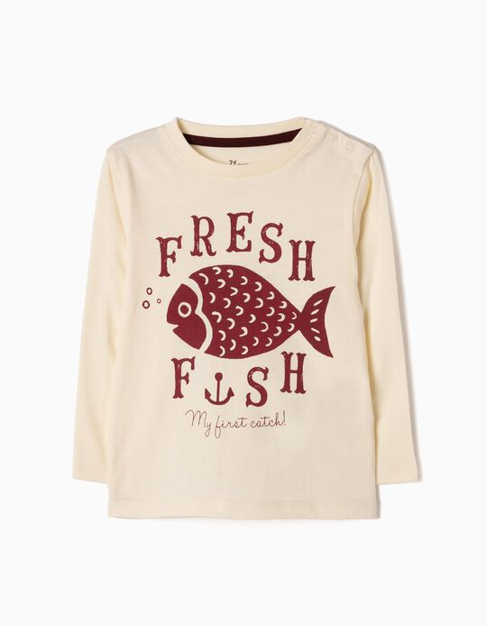 T-shirt Manga Comprida Fish Branca