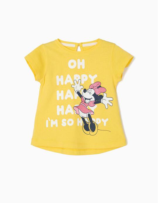 T-shirt para Bebé Menina 'Happy Minnie', Amarelo