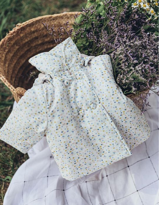 Padded Jacket for Newborn Girls 'Flowers', White