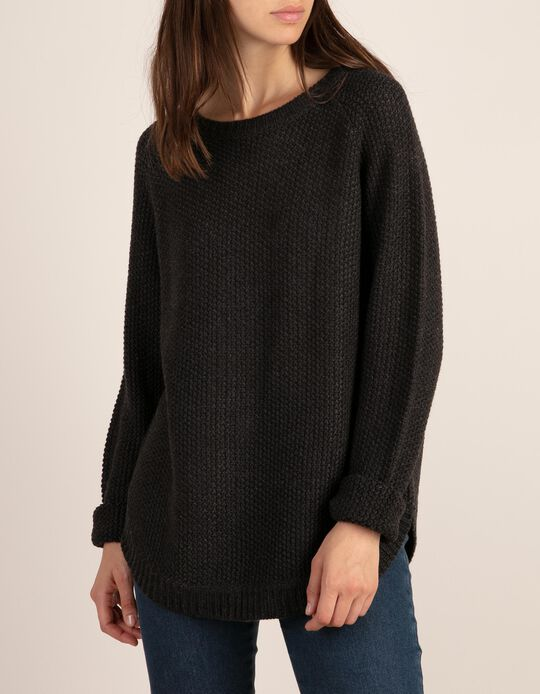 Moss stitch plain jumper
