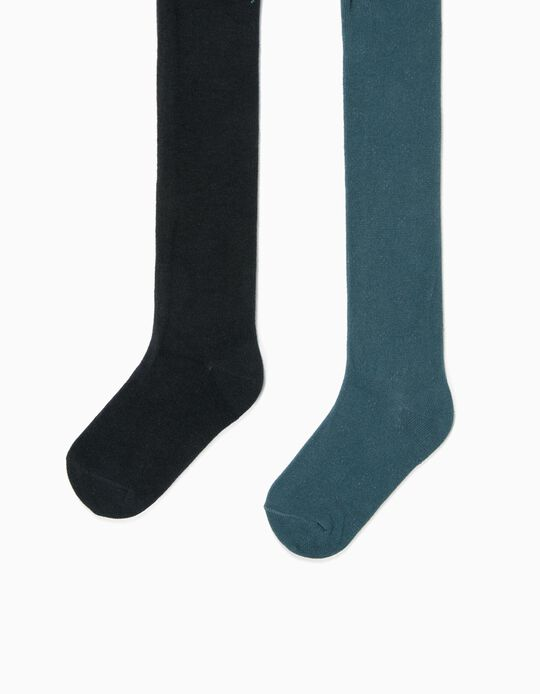 2 Pairs of Fine Knit Tights for Girls, Dark Teal/Dark Blue