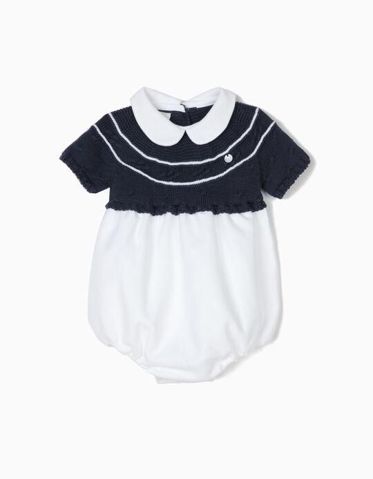 Macacão Combinado para Recém-Nascido 'Little Sailor', Branco e Azul