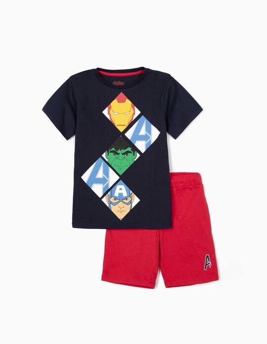 T-shirt e Calções para Menino 'Avengers', Azul Escuro/Vermelho