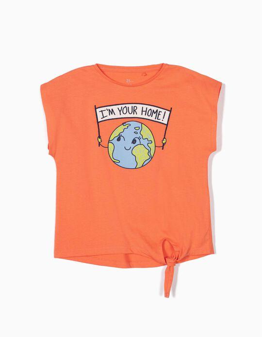 T-shirt para Menina 'Home' com Nó Frontal, Laranja