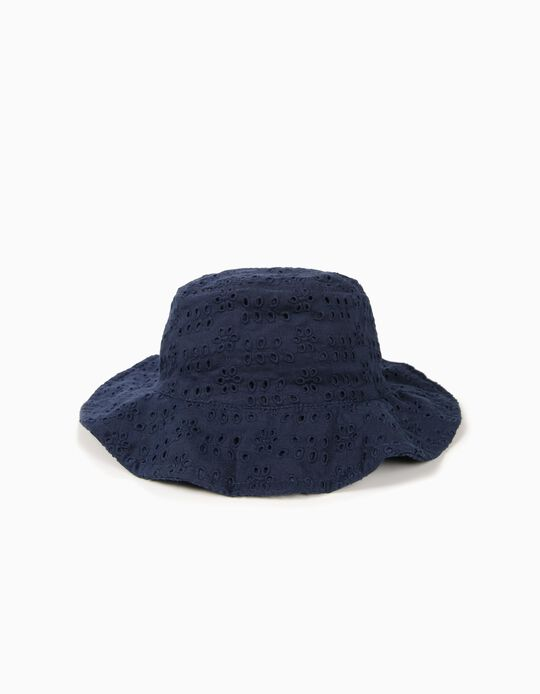 Hat with Broderie Anglaise for Girls, Dark Blue