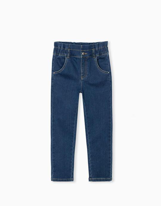 Denim Trousers, Elastic Waist, Girls, Blue