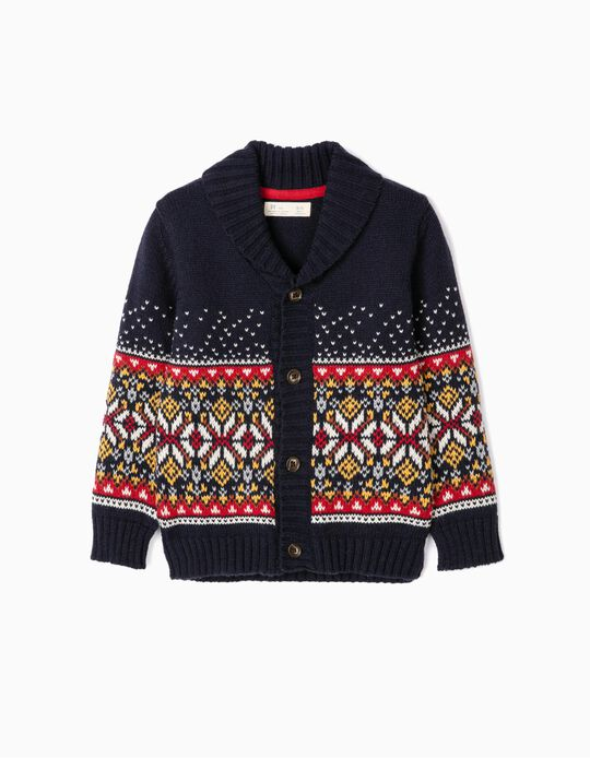 Knit Cardigan with Jacquard for Boys, Dark Blue