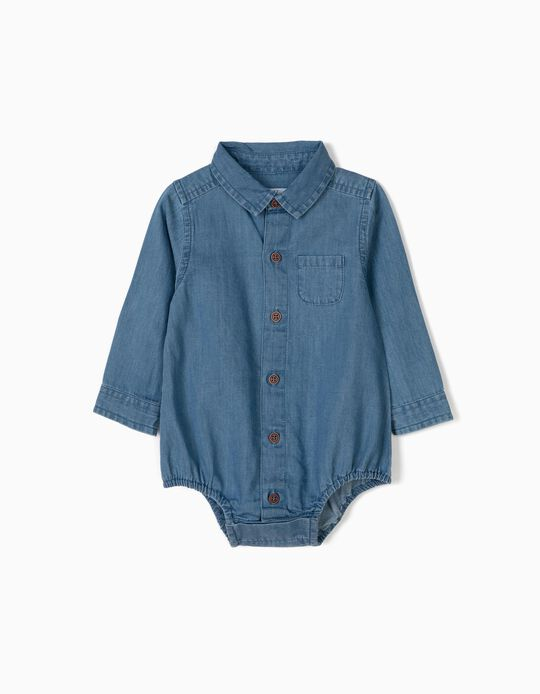 Body-Camisa de Ganga para Recém-Nascido, Azul Claro