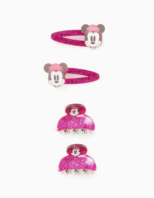 2 Hair-Clips + 2 Hair-Claws for Girls 'Minnie', Pink