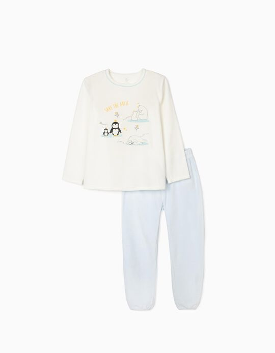 Pyjamas in Velour for Girls 'Save The Artic', White/Blue