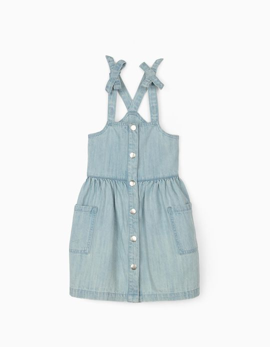 Denim Pinafore Dress for Girls, Light Blue