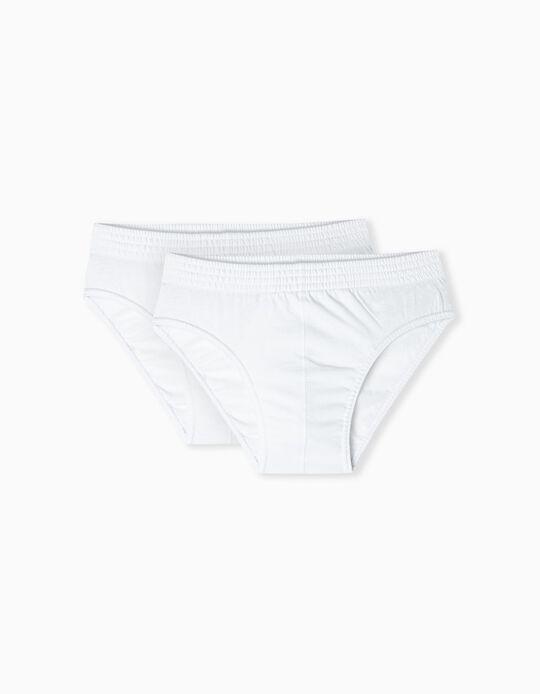 2 Pairs Cotton Briefs for Men, White