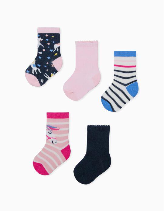 5 Pairs of Socks for Baby Girls, 'Unicorns', Multicoloured