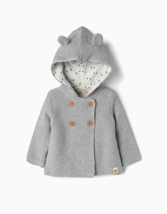 Hooded Knit Cardigan for Newborn, Grey