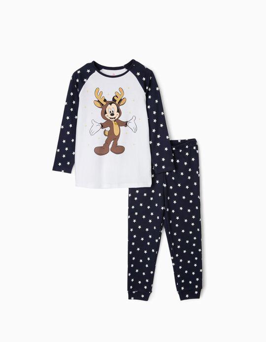 Pijama para Menino 'Christmas Mickey', Branco/Azul Escuro