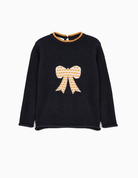 Knit Jumper for Girls 'Bow', Dark Blue