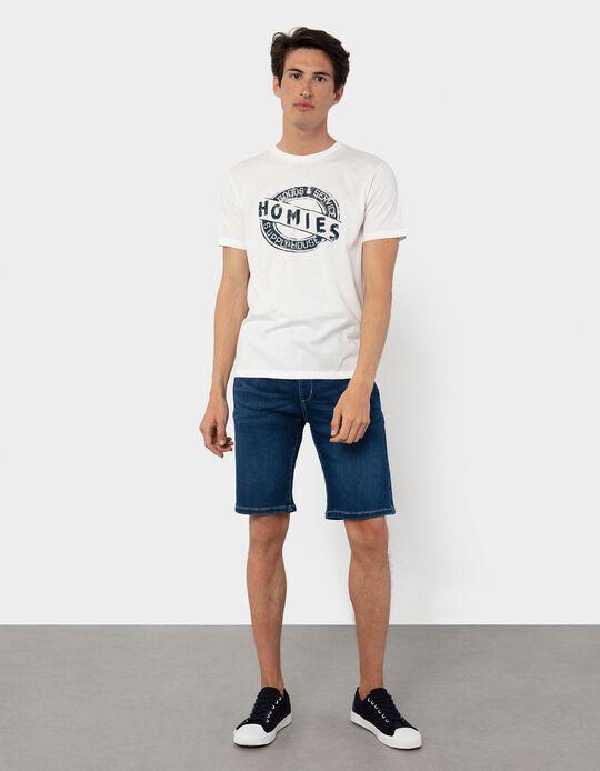 T-shirt com Estampado, Homem, Branco