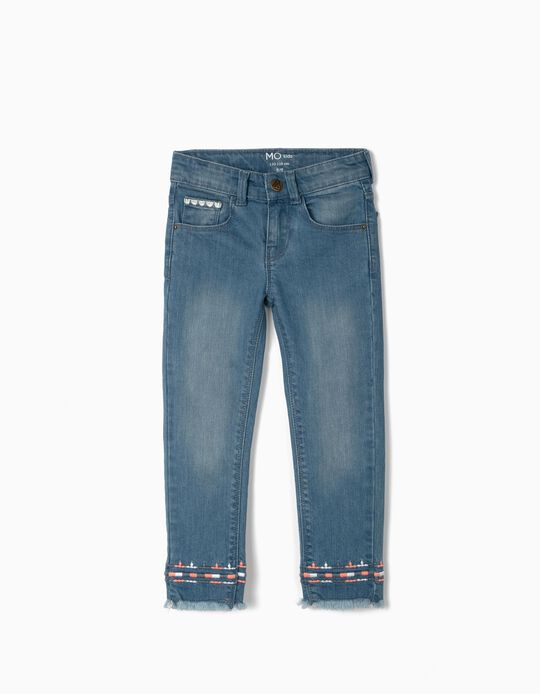 Denim Trousers with Embroideries, Girls