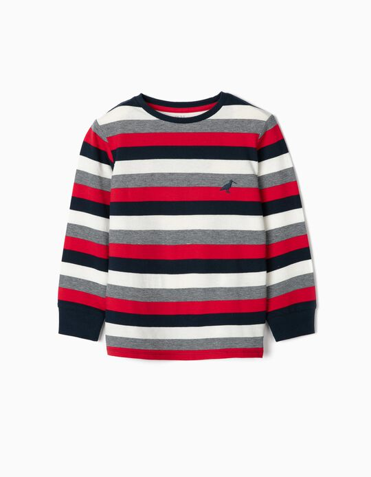 Long Sleeve Piqué Knit Top for Boys, Red/Blue/White