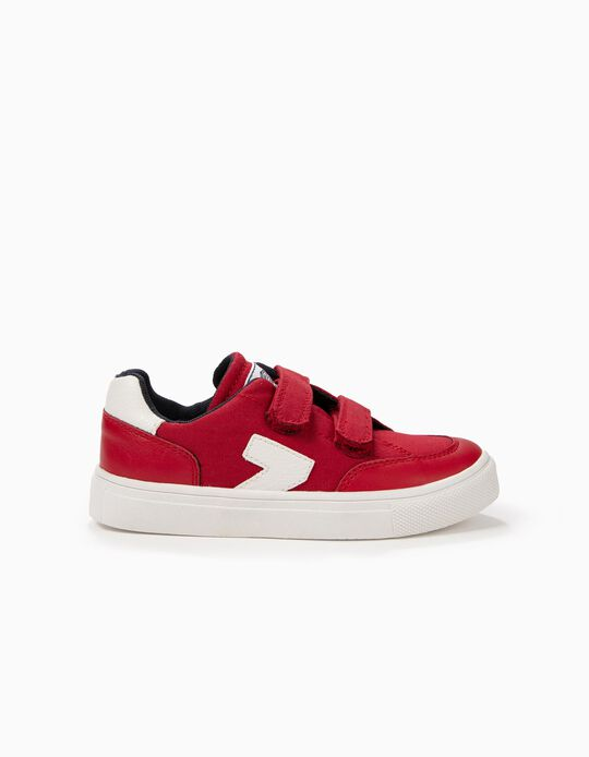 Red 'ZY' Trainers with Double Hook and Loop Tabs