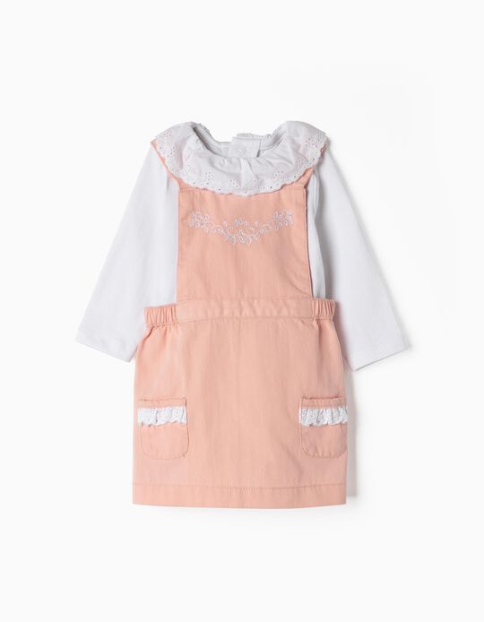 Pinafore Dress and Bodysuit for Newborn Girls, Pink/White
