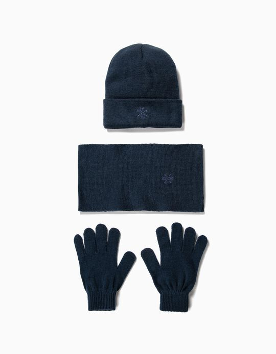 Beanie, Gloves and Scarf Set for Boys, Dark Blue