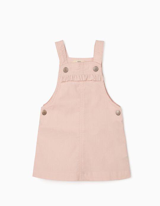 Corduroy Dungaree-Dress for Newborn Baby Girls, Pink
