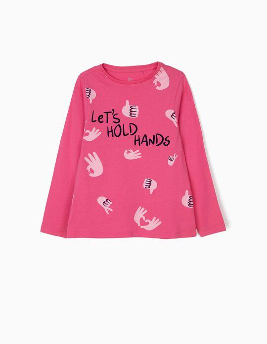 T-shirt Manga Comprida para Menina 'Hold Hands', Rosa