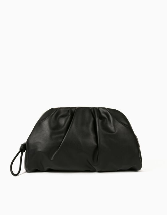 Creased Clutch for Women, Black
