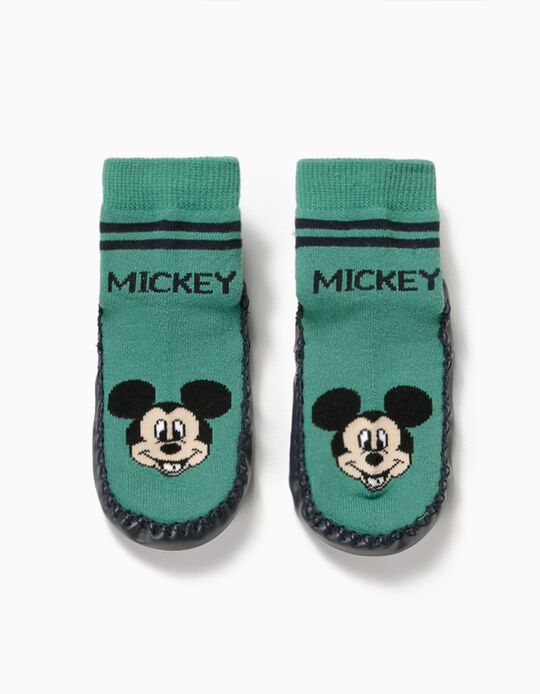 Non-slip Slipper Socks for Boys, 'Mickey Mouse', Green/Blue