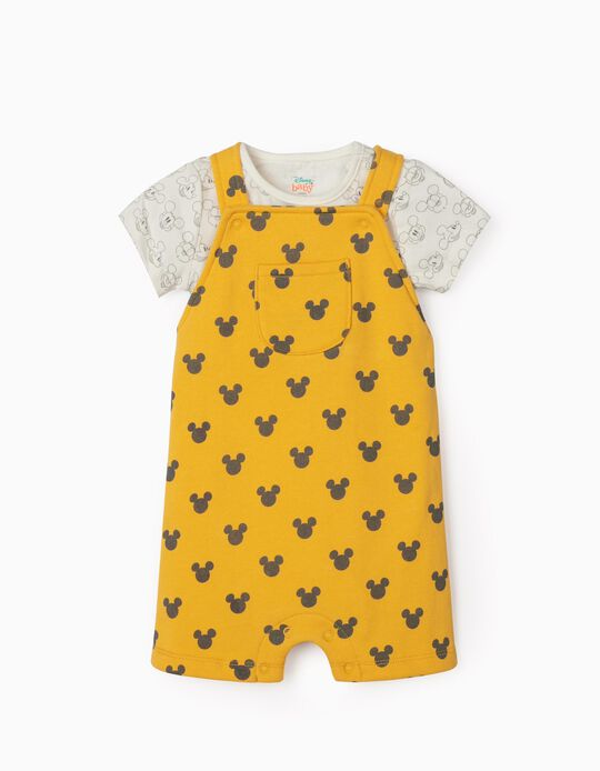 Short Dungarees & Bodysuit for Newborns, 'Mickey Mouse', Yellow/White