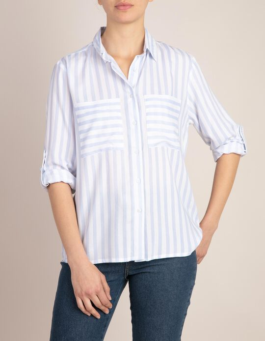 Shirt with Stripe Print and Pockets