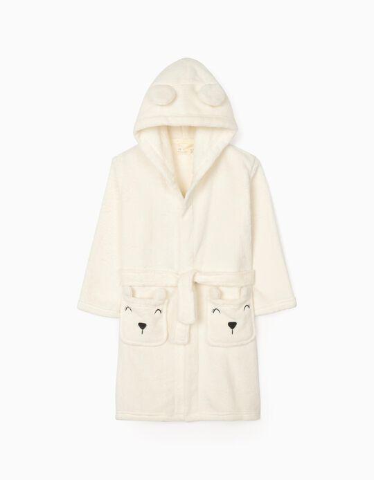 Hooded Robe for girls 'Cute Bear', White