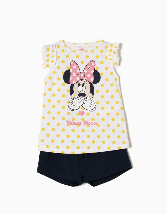 T-shirt and Shorts for Girls 'Cute Minnie', White and Blue