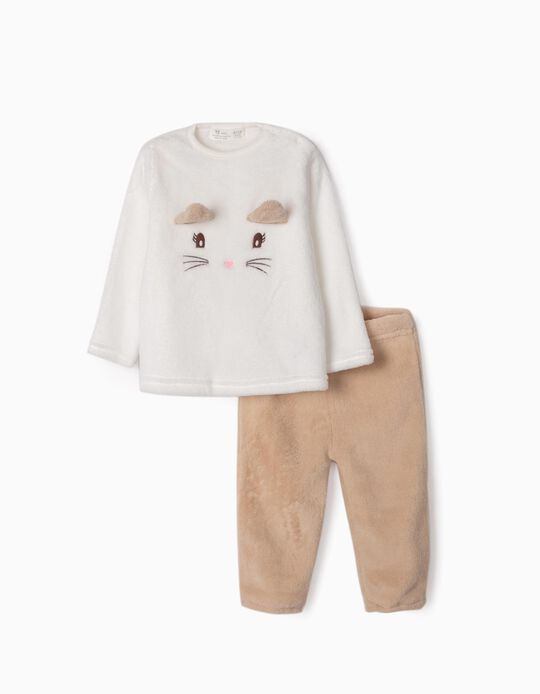 Pijama Coralina para Bebé Menina 'Cute Cat', Branco/Bege