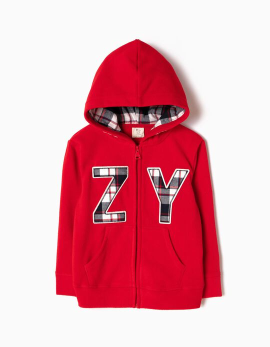 Red Polar Fleece Jacket with Hood, ZY