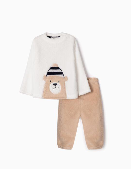 Pijama Coralina para Bebé Menino 'Cute Bear', Branco/Bege