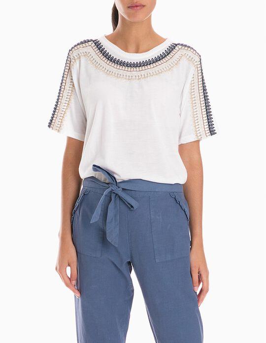 T-Shirt Com Crochet