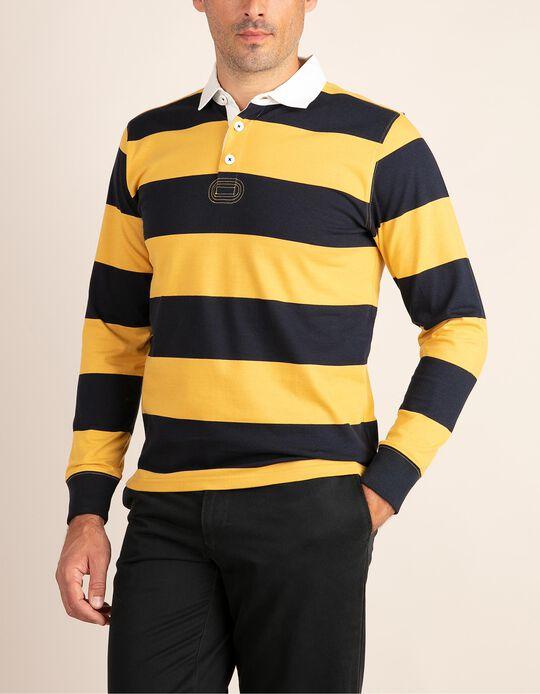 Two-tone striped polo shirt