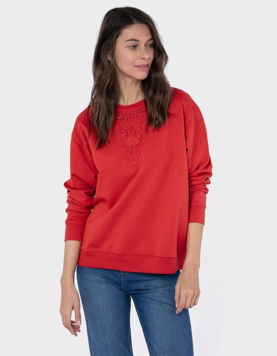 Sweatshirt with Lace Neckline