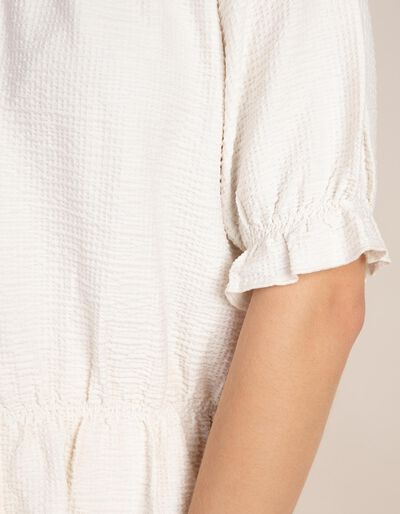 T-shirt meia gola com pormenores elásticos