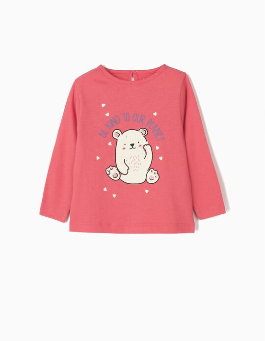 Long-sleeve Top for Baby Girls 'Be Kind', Pink