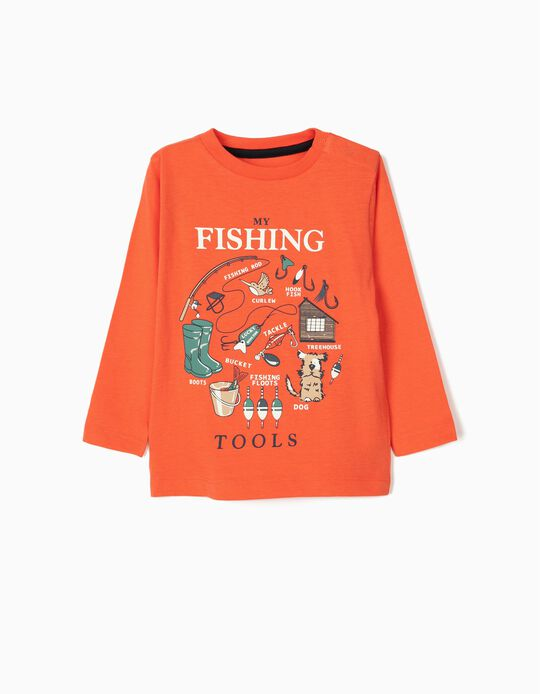 T-shirt Manga Comprida para Bebé Menino 'Treehouse', Coral