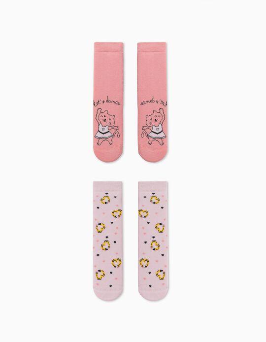 2 Pairs of Non-Slip Socks for Girls, 'Dance', Pink