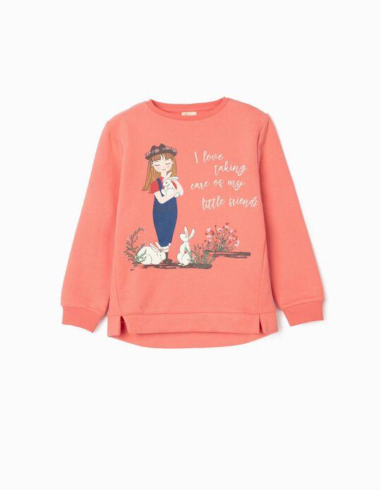 Sweatshirt for Girls, 'Little Friends', Pink