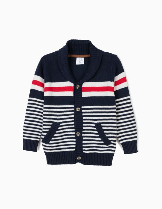 Knit Cardigan for Boys, Dark Blue