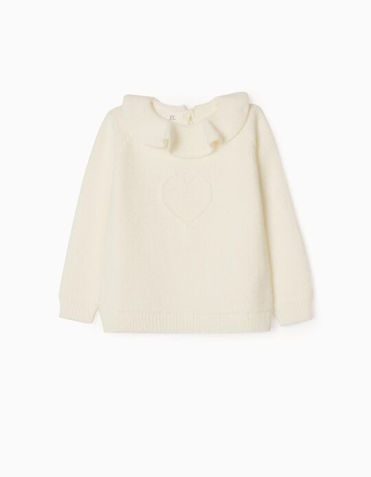 Jumper with Frill Collar 'Heart', White